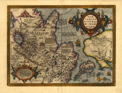 Asia 1570 antique historical map, royalty free, clipart