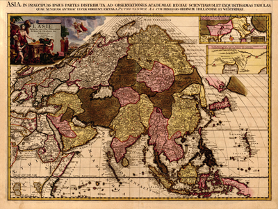 Asian, asia map 1680 antique historial royalty free clip art map
