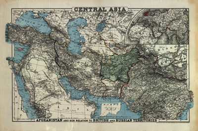 Central Asia 1885, antique historical rare map, royalty free, clip art