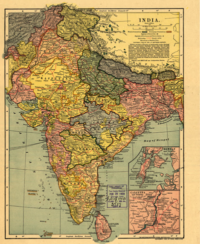 India 1903 antique rare map, Nepal, Butan, heritage, old map, royalty free, clip art