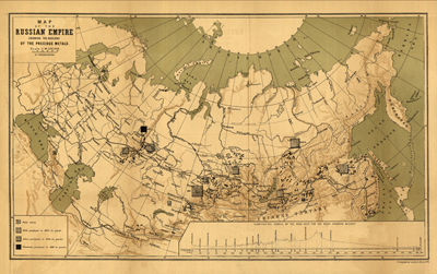 Russia 1890 Antique Map Rare Old China Japan Europe