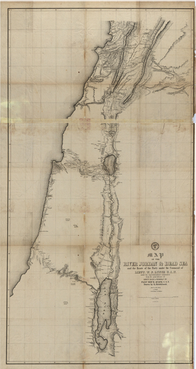 Dead Sea Jordan 1840 Antique Historical Map, Clip Art, Royalty Free