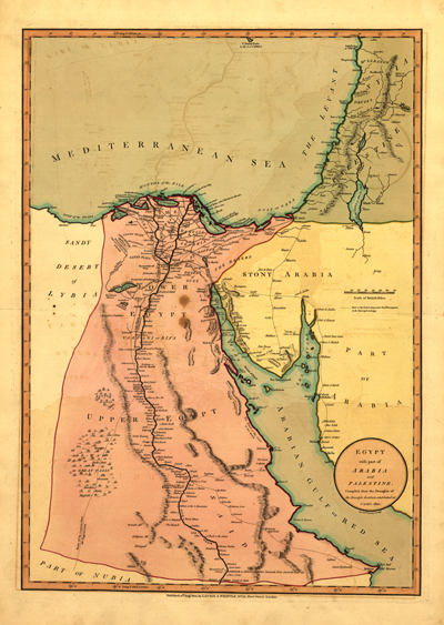 Egypt 1800 Antique Map, vintage rare, middle east, royalty free, clip art