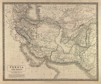 Iran Afghanistan 1850s Antique rare vintage map, royalty free, clip art
