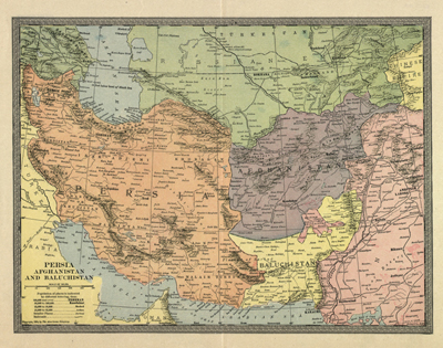 Iran Pakistan 1904 Map, Antique Vintage Old Print, Royalty Free, Clip Art