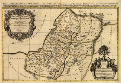 Palestine 1696 map, cartography antique map, royalty free, clip art