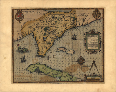 Cuba, Florida, 1591 Antique Historical Map, Royalty Free, clip art