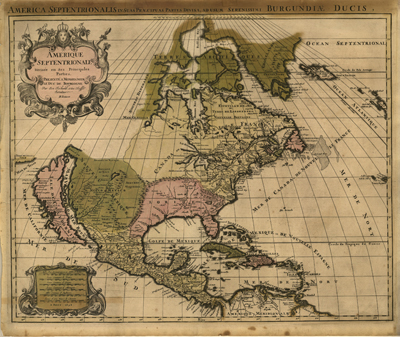 North America 1694 Vintage Historical map, Old print, heritage, atlases, vintage