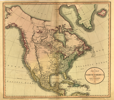 North America 1811 antique historical United States map, royalty free, antiquarian