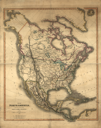 North America 1849 Antique Historical map, Royalty Free, United States