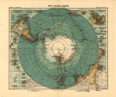 Antarctica, 1912, south pole, antique historical map, royalty free