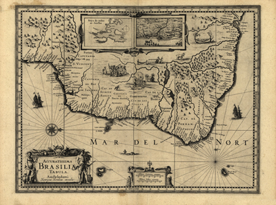 Brazil 1630 antique map, rare historical vintage map, south america, royalty free, clip art