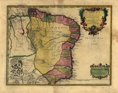 Brazil 1719 antique map, south america, royalty free, clip art, latin america