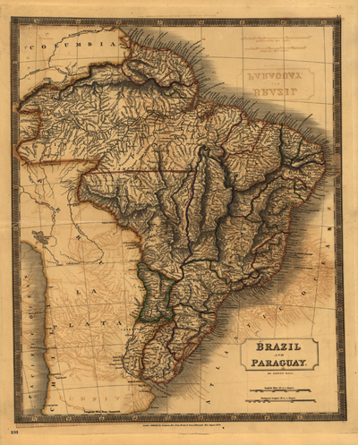 Brazil Paraguay 1828 map, antique historical rare map, South America, latin America, Royalty Free, clip art