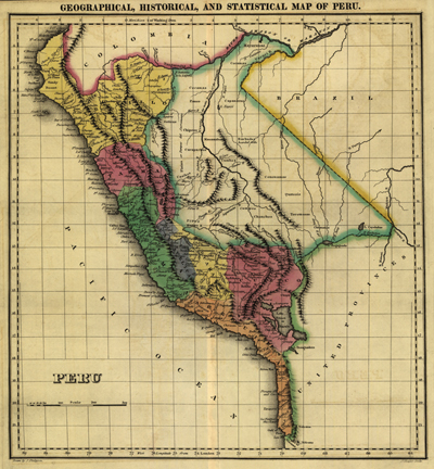 Peru 1822, South America Antique Historical Map, Royality Free, Clip Art