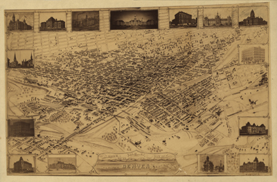 Denver 1881 Historical Antique map, Royalty Free, Clip art