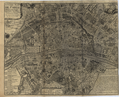 Paris, France map 1700s, antique rare map, royalty free, clip art