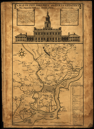 Philadelphia, Pennsylvania 1752 map, antique historical map, royalty free, clip art