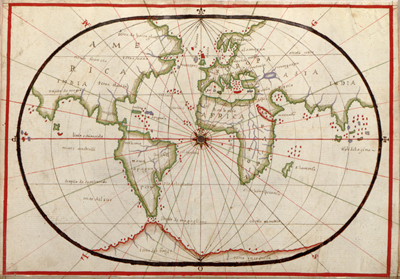 Antiuque World Projection Map, 1590, Vintage, Europe, Africa, North America